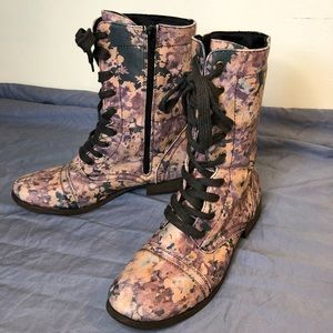 Mossimo Supply Co. Floral lace up combat boots